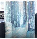 3D High Branches and White Snow with Strong Sunlight Printed Dust-Proof and Decorative Drapes