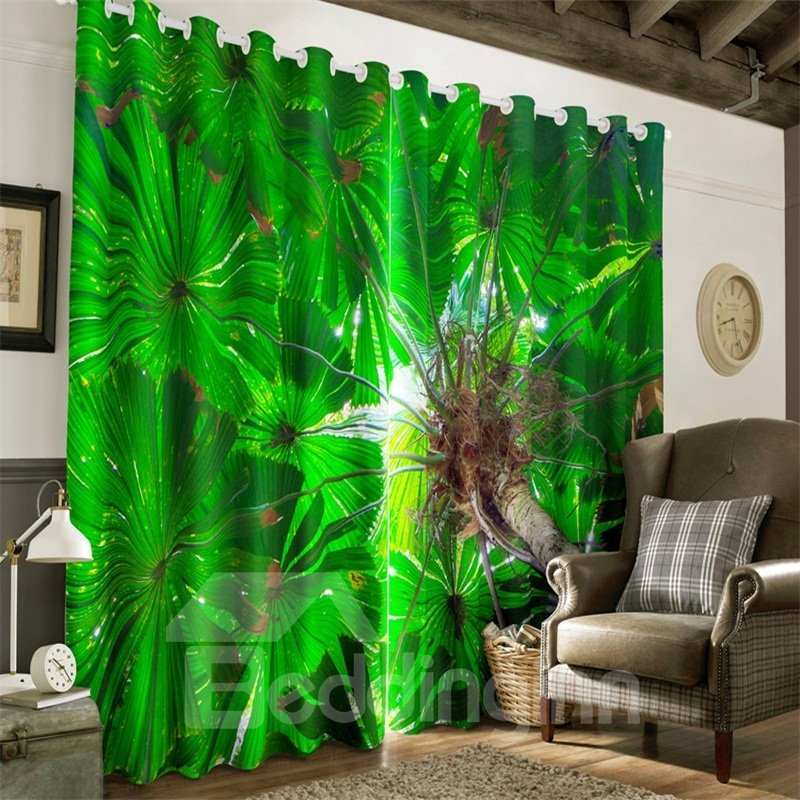 3D Green Leaves Printed 2 Panels Living Room and Bedroom Decorative Curtain
