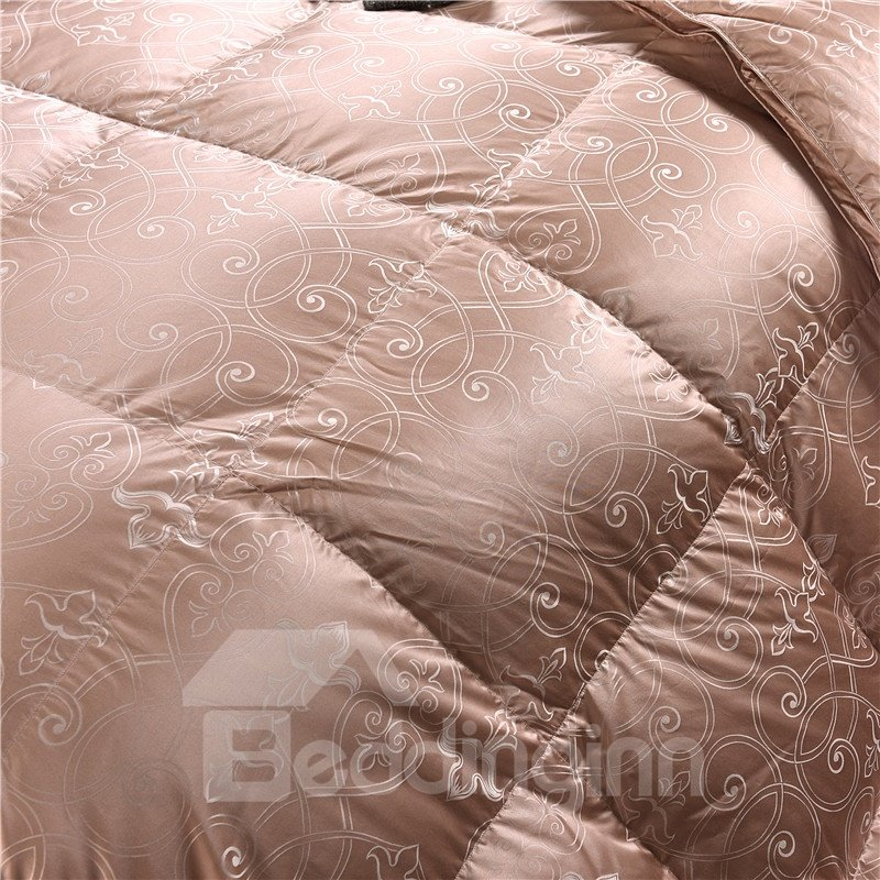 Solid Peachy Beige Royal Style Down Feather Super Soft Thick Winter Quilts/Comforters
