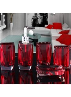 5-Piece Crystal Resin Eco-friendly Durable Bathroom Ensemble