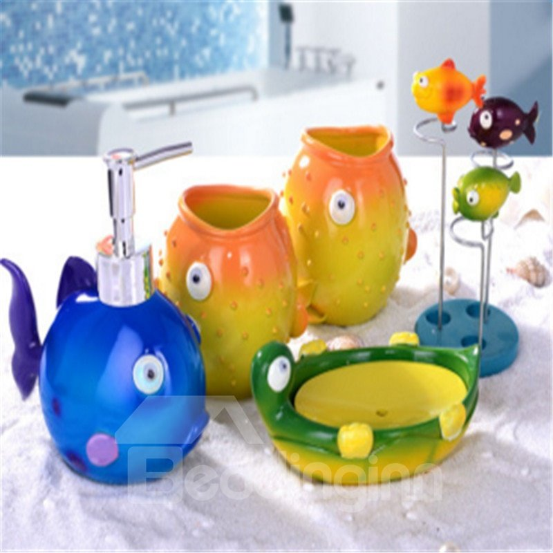 Fishes 5-Piece Resin Eco-friendly Durable Bathroom Ensemble