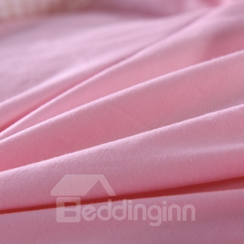 Solid Sweet Pink Twisted Flowers Design Super Soft Thick Winter Quilts/Comforters