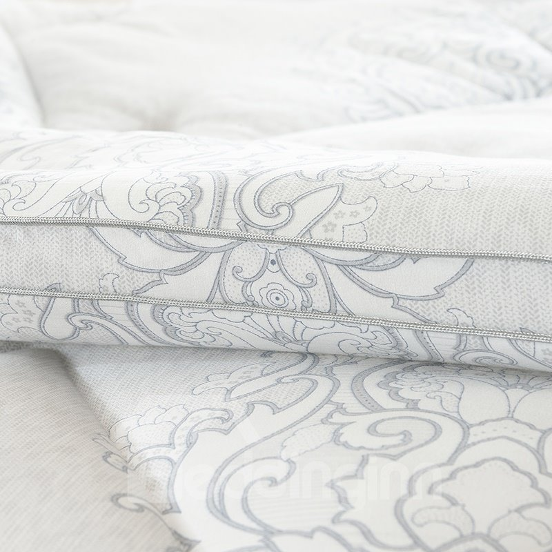European Floral Scrolls Printed Grey Super Soft Thick Winter Quilts/Comforters