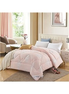 European Floral Scrolls Printed Pink Super Soft Thick Winter Quilts/Comforters