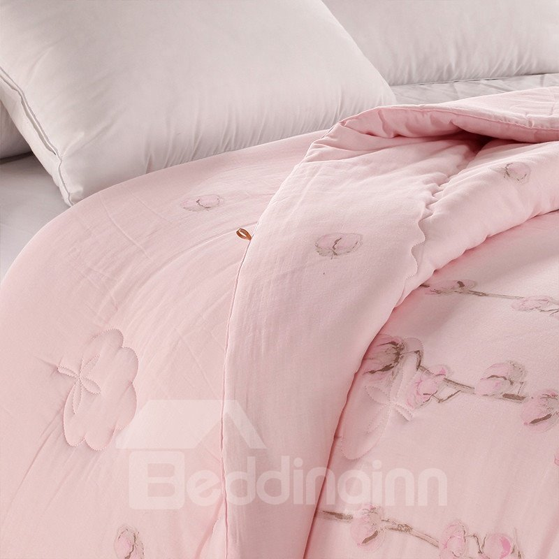 Pink Flowers Printed Super Soft Thick Cotton Winter Quilts/Comforters