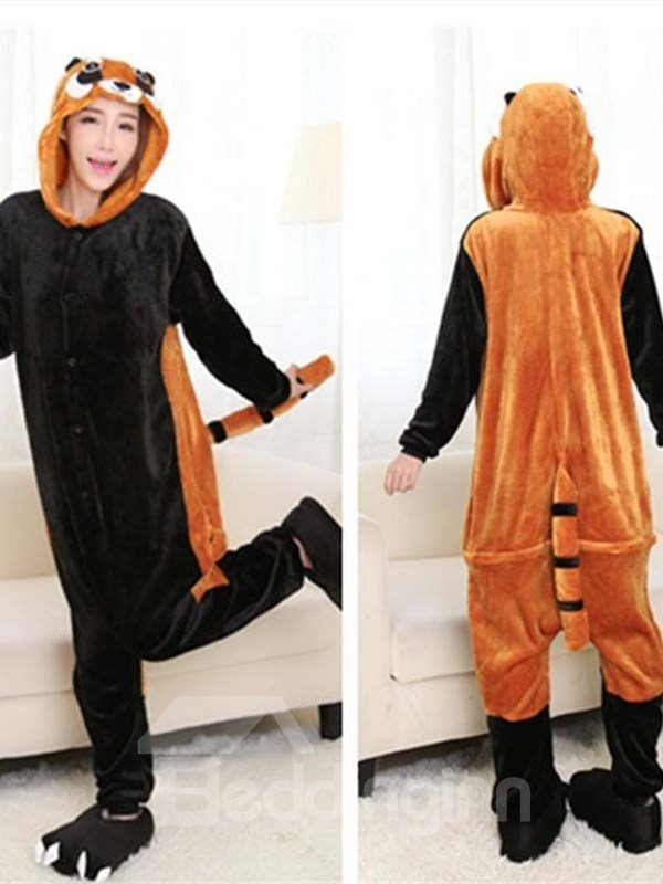 Halloween Lovely Raccoon Flannel One-Piece Stretchable Pajama Jumpsuit