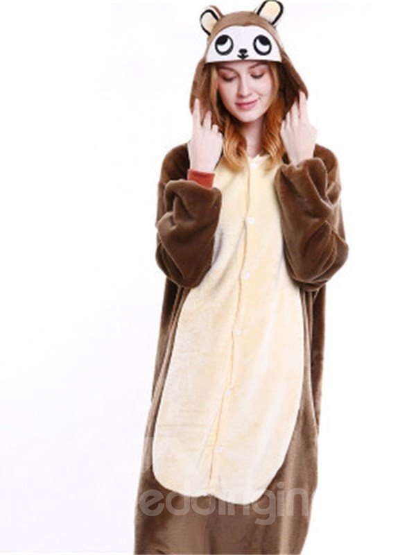Halloween Brown Monkey Flannel One-Piece Stretchable Pajama Jumpsuit