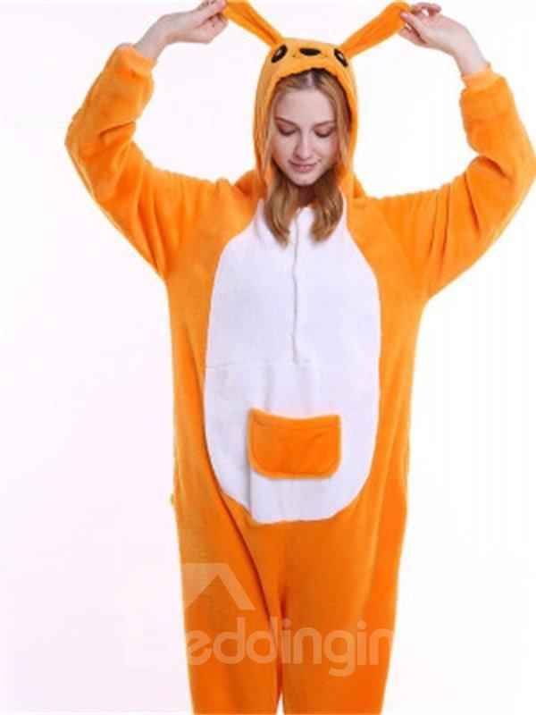 Halloween Yellow Kangaroo Flannel One-Piece Stretchable Pajama Jumpsuit