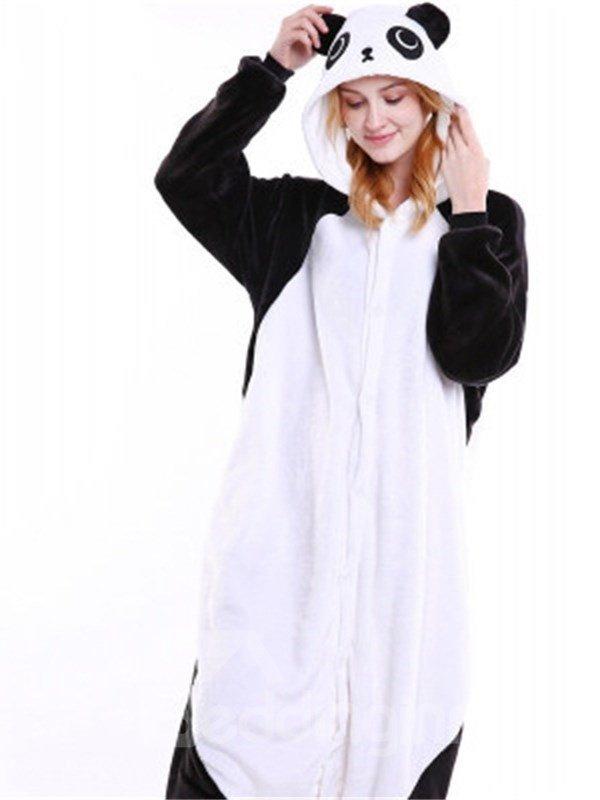 Halloween Kung Fu Panda Flannel One-Piece Stretchable Pajama Jumpsuit
