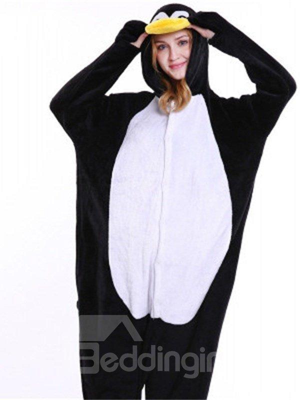 Halloween Cute Penguin Flannel One-Piece Stretchable Pajama Jumpsuit