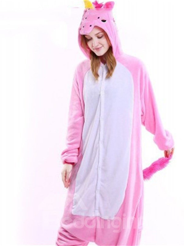 Halloween Rose-Carmine Unicorn Flannel One-Piece Stretchable Pajama Jumpsuit