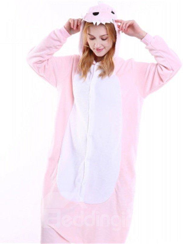 Halloween Pink Dinosaur Flannel One-Piece Stretchable Pajama Jumpsuit
