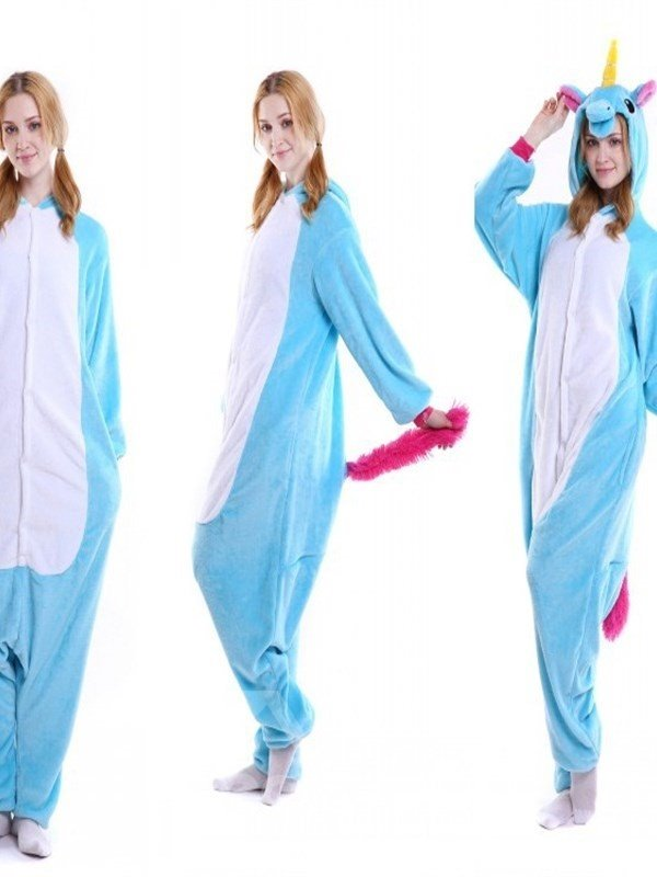Halloween Blue Pegasus Flannel One-Piece Stretchable Pajama Jumpsuit