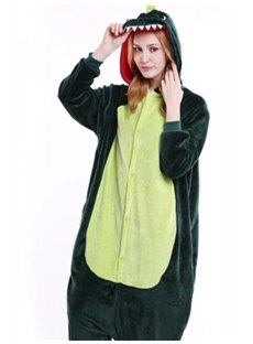 Halloween Green Dinosaur Flannel One-Piece Stretchable Pajama Jumpsuit