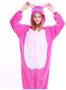 Halloween Pink Stitch Flannel One-Piece Stretchable Pajama Jumpsuit