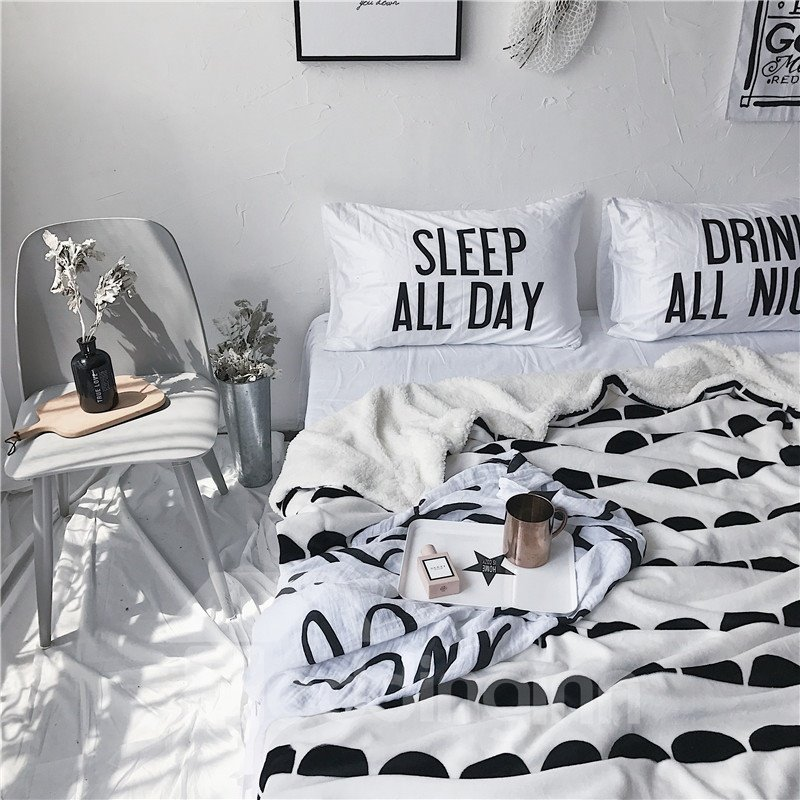 Black Semicircle Printed White Nordic Style Fluffy Super Soft Bed Blankets