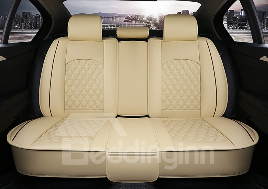 Luxurious Color Brilliancy Plaid Leather Universal Car Seat Cover