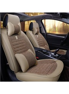 Pure Color Linen Material Comfortable Universal Car Seat Cover