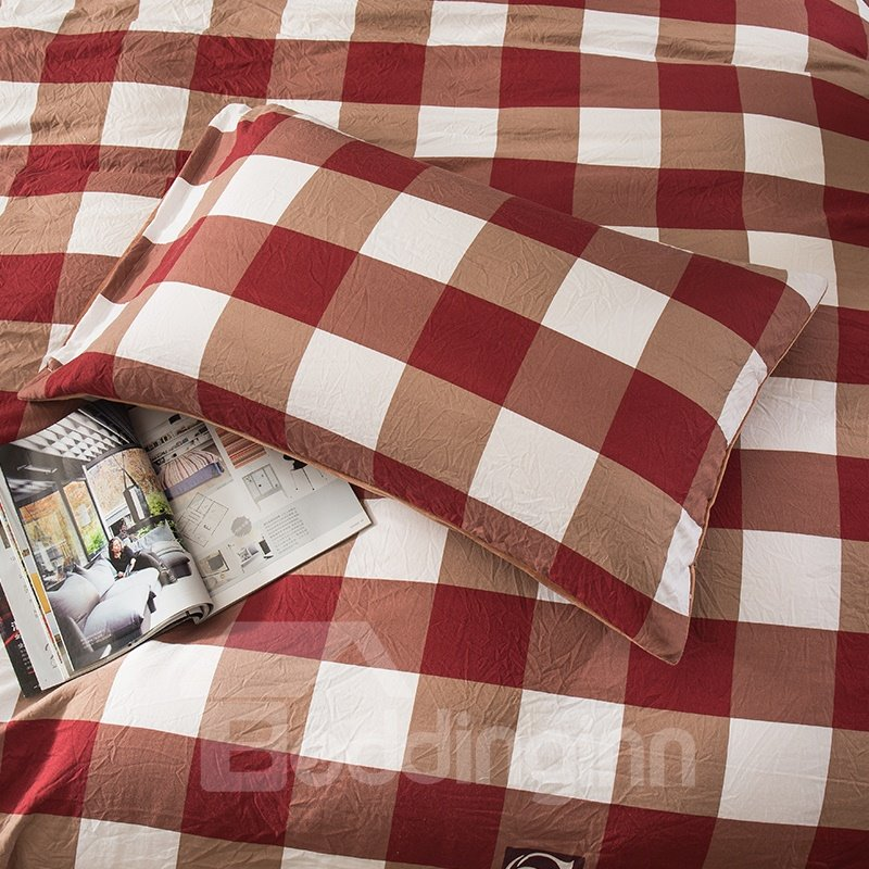 Wine Red Plaid Pattern Modern Style Soft 4-Piece Bedding Sets/Duvet Cover
