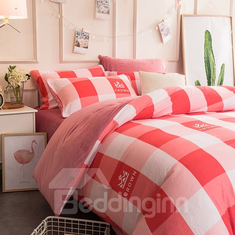 Watermelon Red Plaid and Crown Pattern Super Soft 4-Piece Bedding Sets/Duvet Cover