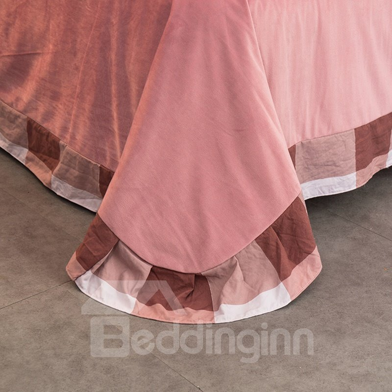 Peachy Pink Plaid Pattern Modern Style Soft 4-Piece Bedding Sets/Duvet Cover