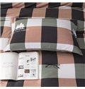 Green and Pink Plaid Pattern Modern Style 4-Piece Bedding Sets/Duvet Cover