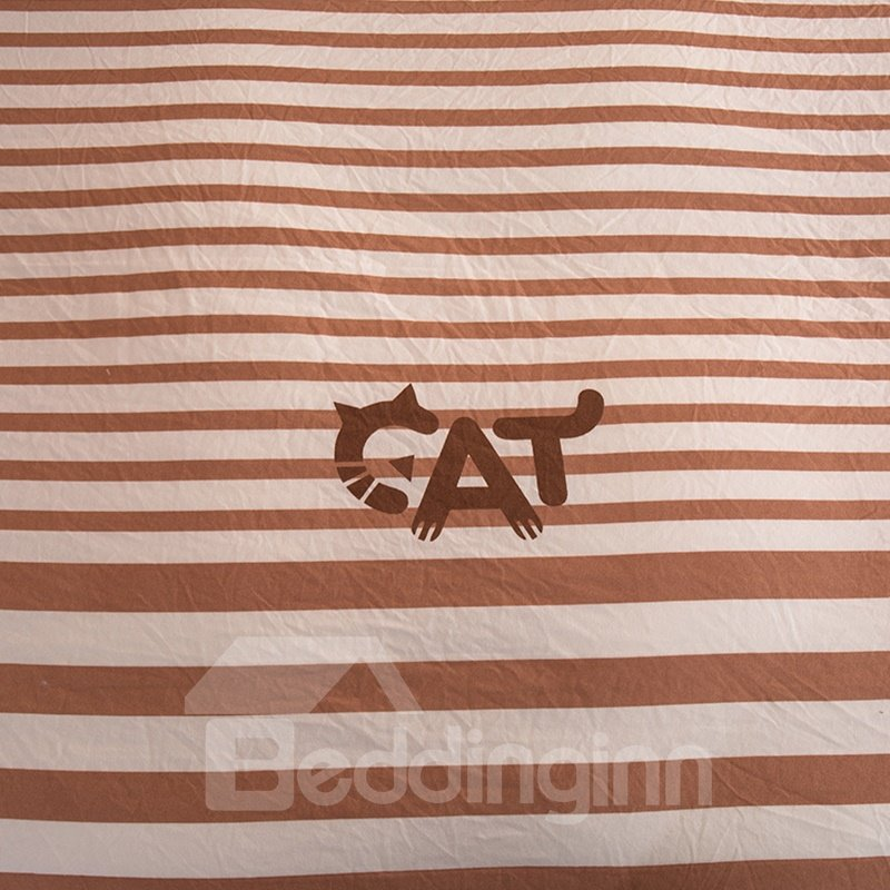 Coffee Stripes and Cat Letter Modern Style Soft 4-Piece Bedding Sets/Duvet Cover
