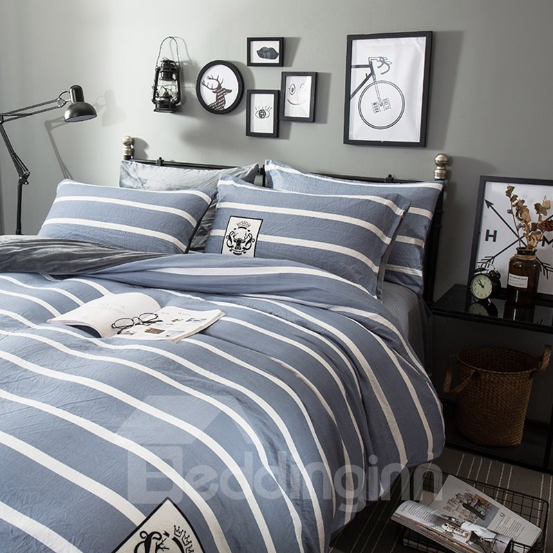 Grey Stripes and Deer Pattern Modern Style Soft 4-Piece Bedding Sets/Duvet Cover