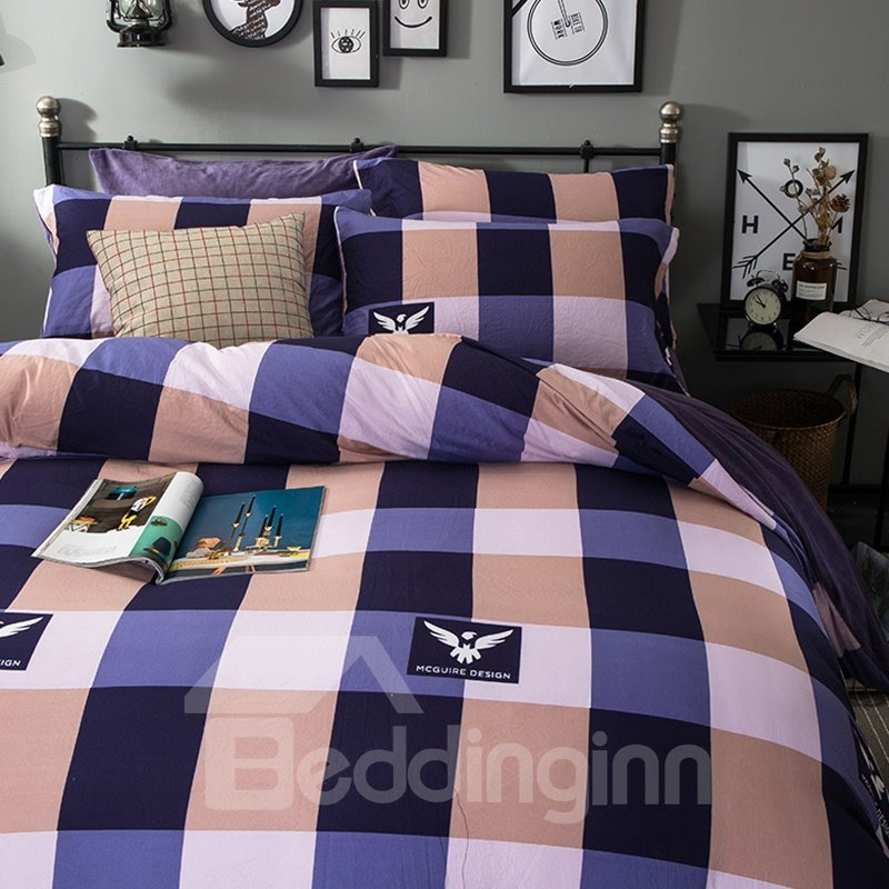 Purple and Khaki Plaid Pattern Modern Style Soft 4-Piece Bedding Sets/Duvet Cover
