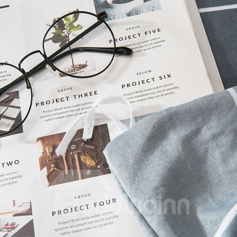 Grey Plaid Pattern Modern Style Soft 4-Piece Bedding Sets/Duvet Cover