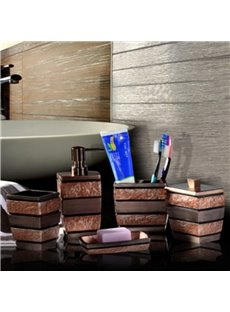 Brown Stripes 5-Piece Vintage Style Resin Durable Bathroom Ensemble