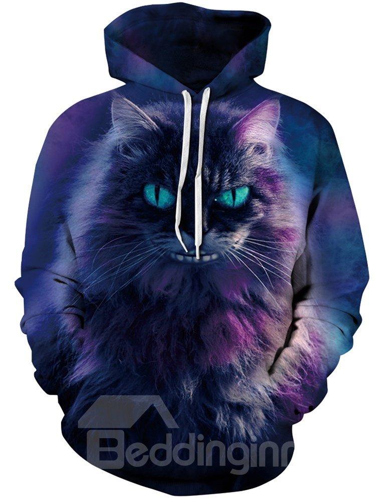 Long Sleeve Horror Cat Smile Galaxy Pattern 3D Painted Hoodie