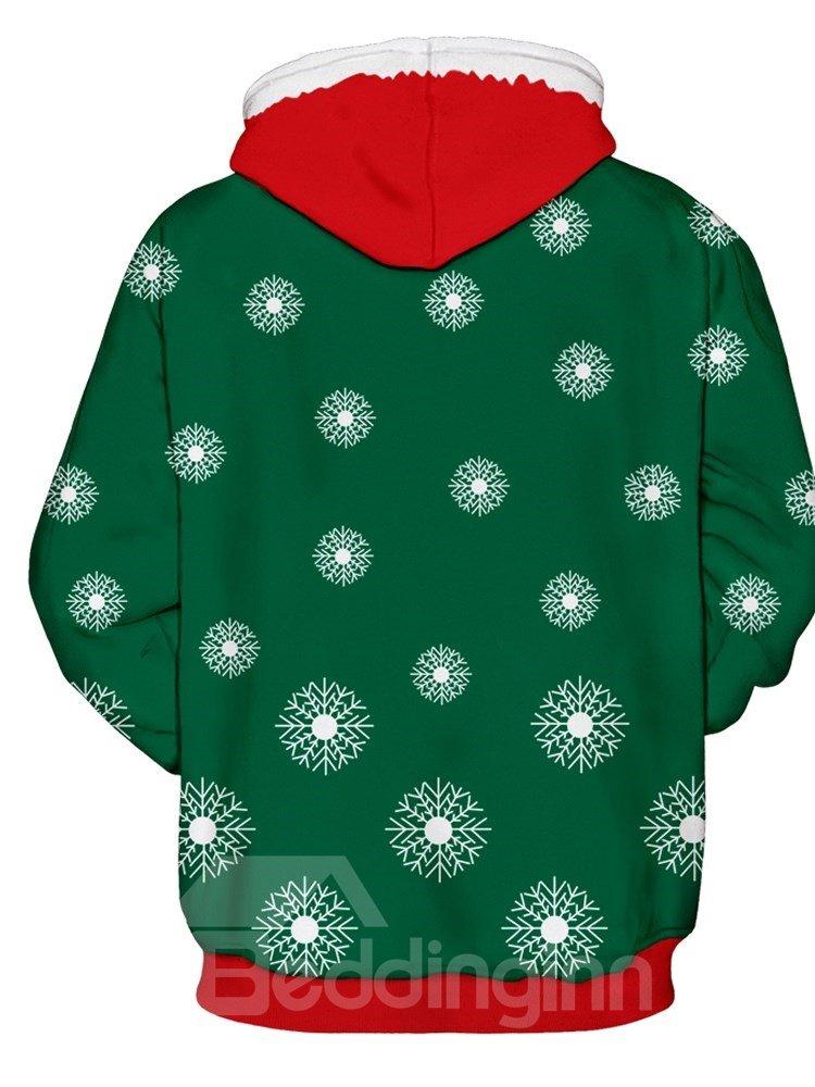 Christmas Santa and Snowflake Long Sleeve 3D Pattern Hoodie