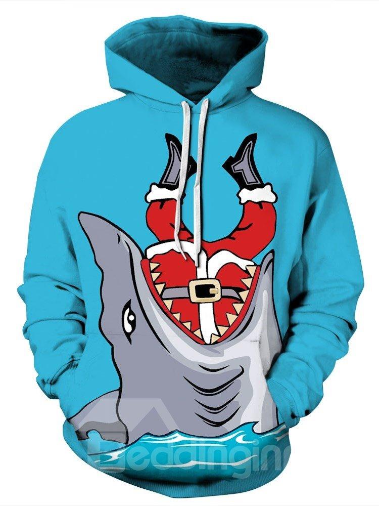 Shark Eat Santa Christmas Long Sleeve 3D Pattern Hoodie