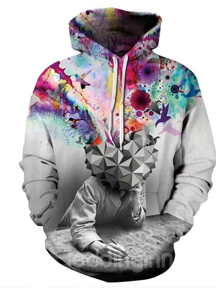 Colorful Thinker Long Sleeve 3D Pattern Hoodie
