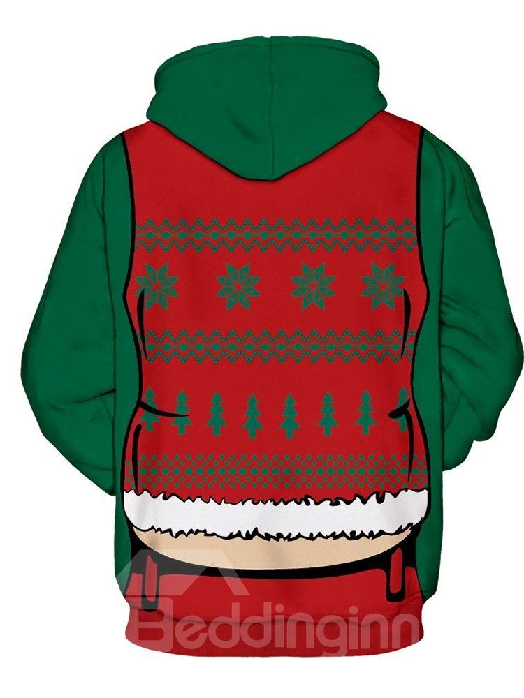 Long Sleeve Sexy Vest Belly Christmas Pattern 3D Painted Hoodie