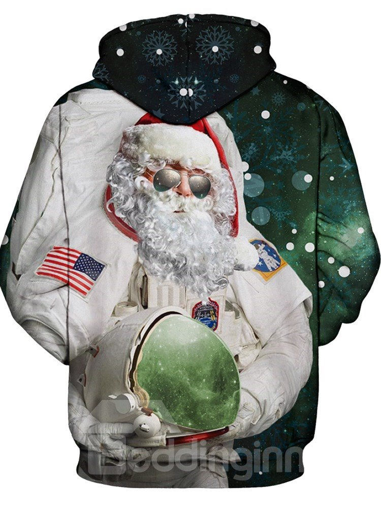 ce2620a1bb42 48 Long Sleeve Christmas Santa Claus Astronaut Pattern 3D Painted Hoodie