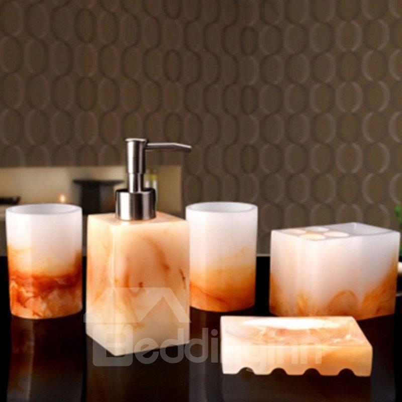 Bowlder Pattern 5-Piece Gorgeous Style Resin Durable Bathroom Ensemble