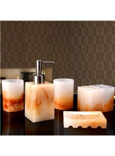 Bowlder Pattern 5-Piece Gorgeous Style Resin Durable Bathroom Ensemble
