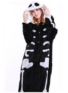Halloween Black Skull Flannel One-Piece Stretchable Pajama Jumpsuit