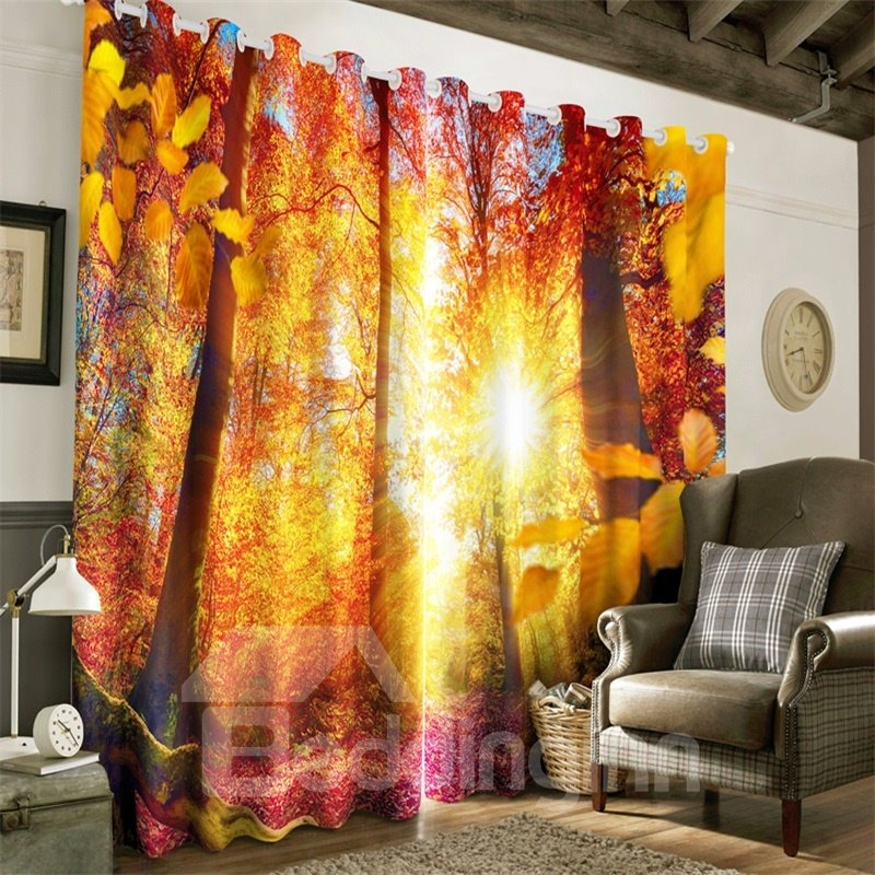 3D Red and Yellow Leaves with Strong Sunlight Printed Autumn Scenery Custom Curtain
