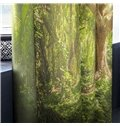 3D Old Trees in Thick Forest Printed Summer Scenery 2 Panels Custom Window Drape