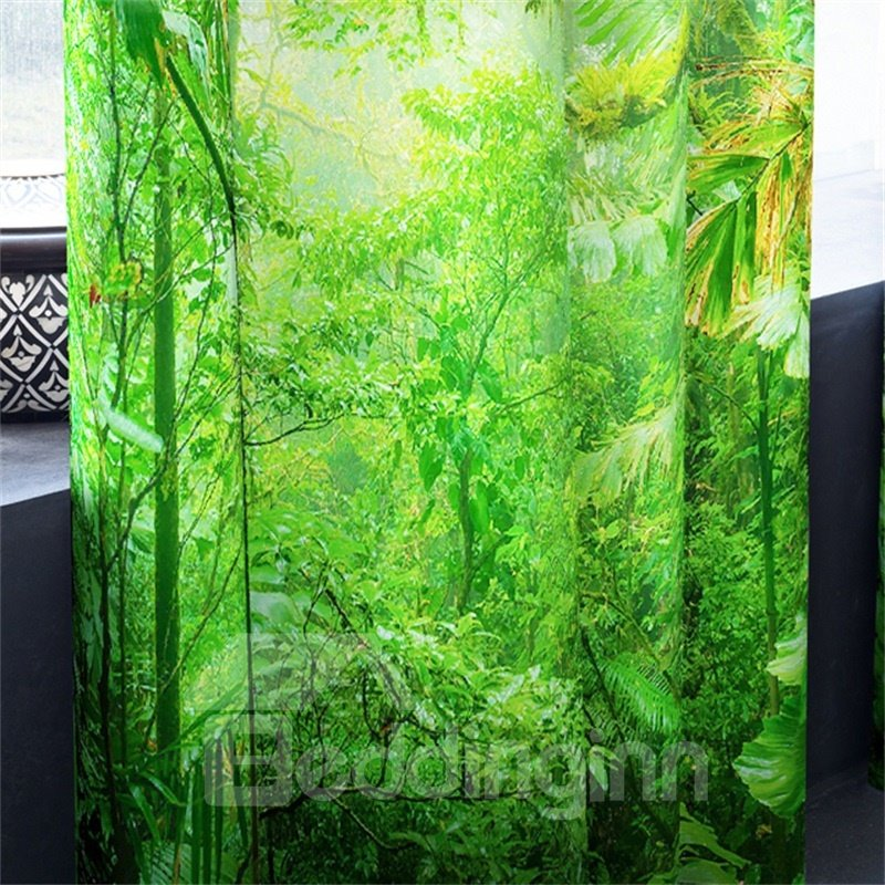 Lush Trees and Strong Sunlight Printed 2 Panels Decorative Custom 3D Curtain