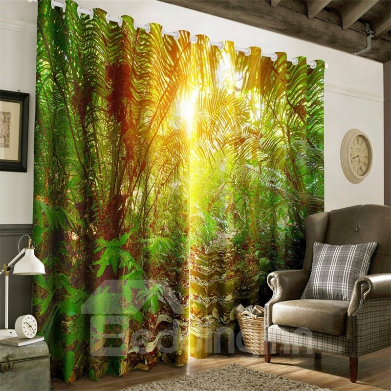 3D Lush Conifers and Golden Sunlight Printed 2 Panels Grommet Top Custom Curtain