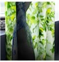 3D Lush Leaves and Bird Printed Heat Insulated and Decorative Custom Curtain