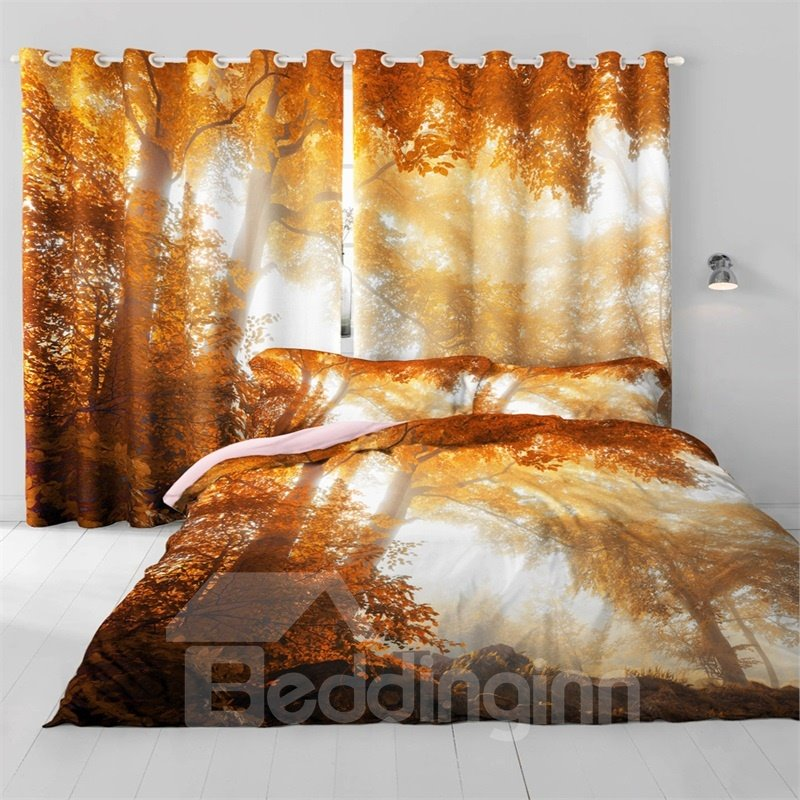 3D Mysterious Forest and Yellow Leaves Printed 2 Panels Custom Curtain