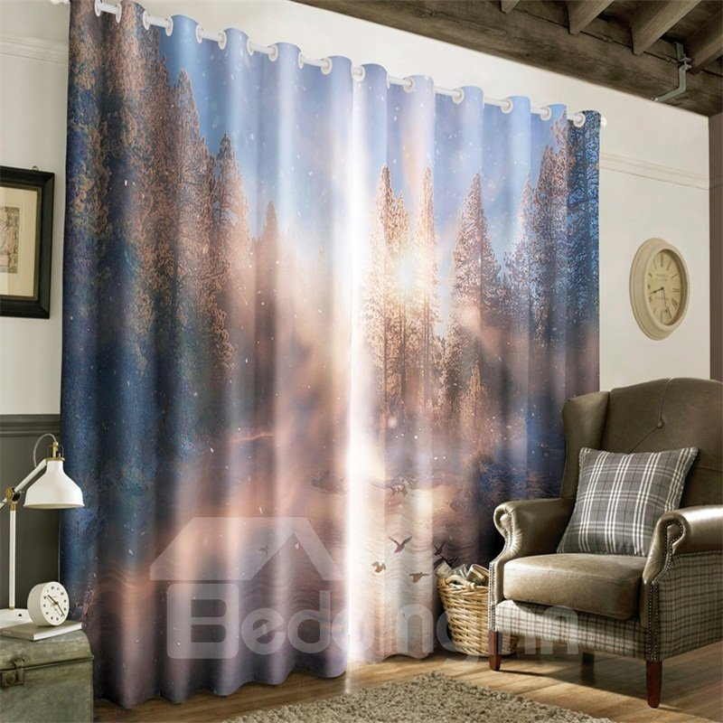 3D Soft Sunlight and Yellow Trees Printed 2 Panels Living Room Custom Curtain