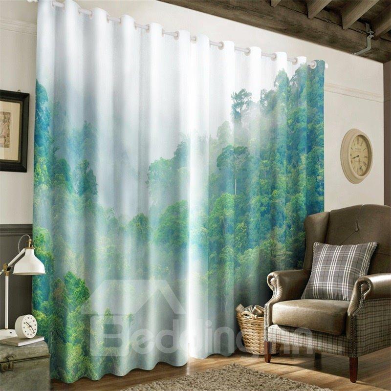 3D Mist-Shrouded Mountain Top Printed Decorative Custom Window Curtain