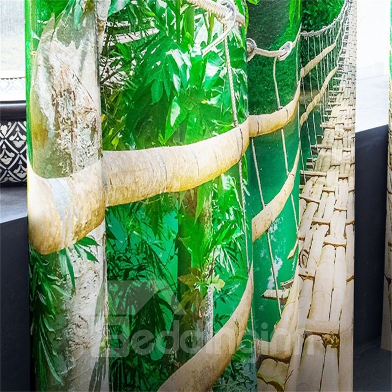 3D Lush Trees and Wooden Road Printed Heat Insulated Custom Curatin