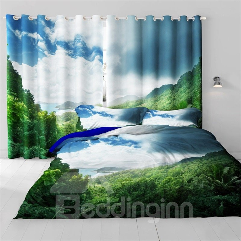 3D Thick Green Forest and Thick Clouds Printed Room Darken Heat Insulated Custom Drapes